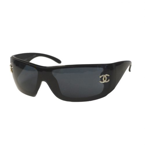 Vintage Chanel Diamante Sunglasses in Black | NITRYL