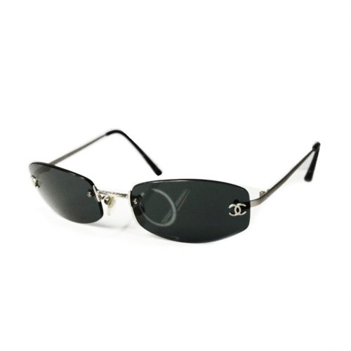 Vintage Chanel Rimless Sunglasses in Black and Silver | NITRYL