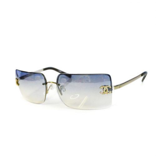 Vintage Chanel Rimless Sunglasses in Baby Blue and Silver | NITRYL
