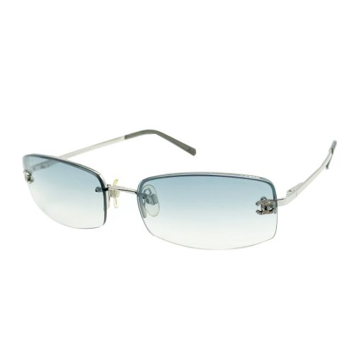 Vintage Chanel Diamante Ombre Tint Sunglasses in Blue and Silver | NITRYL