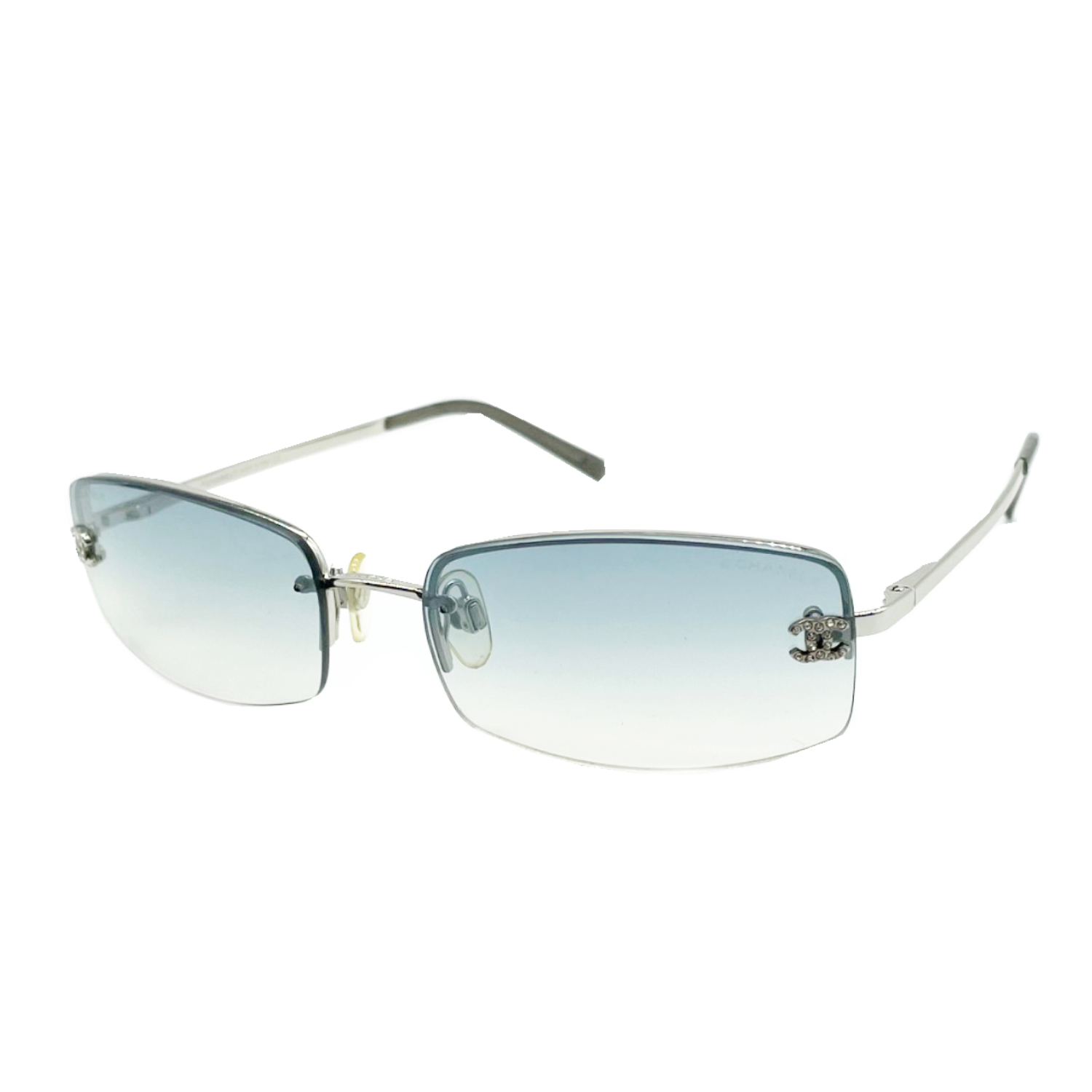 Vintage Chanel Diamante Ombre Tint Sunglasses in Blue and Silver   NITRYL