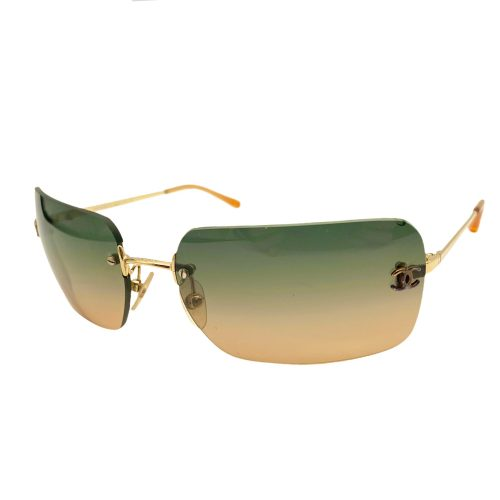 Vintage Chanel RImless Tinted Ombre Sunglasses in Orange and Blue/Green | NITRYL