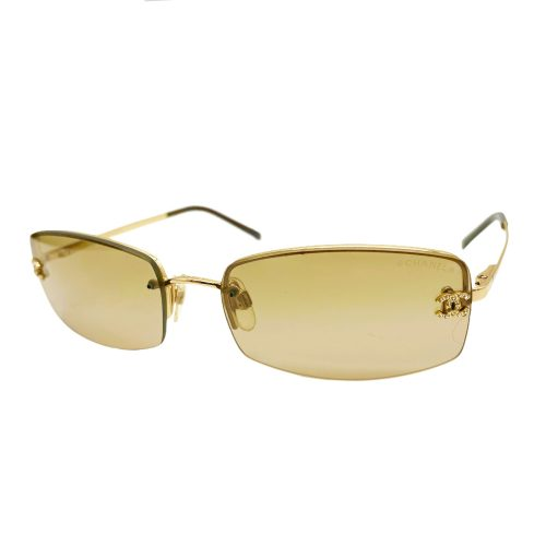 Vintage Chanel Diamante Rimless Sunglasses in Brown | NITRYL
