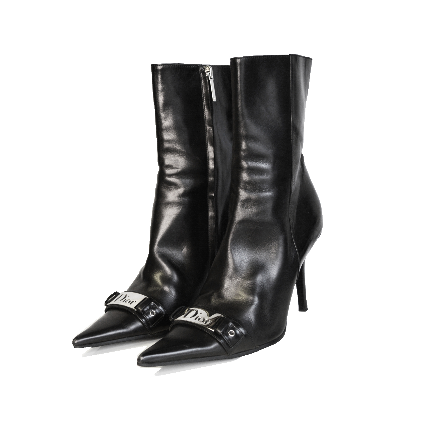Vintage Dior Logo Leather Pointed Boots in Black | NITRYL