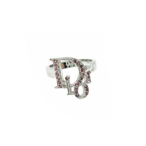 Vintage Dior Diamante Logo Monogram Ring in Silver and Pink | NITRYL