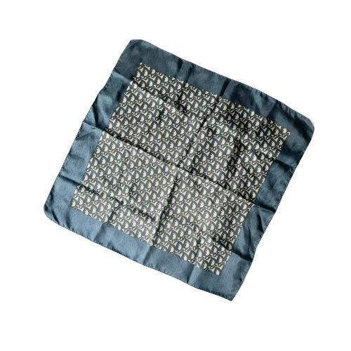Vintage Dior Monogram Silk Scarf in Navy Blue | NITRYL