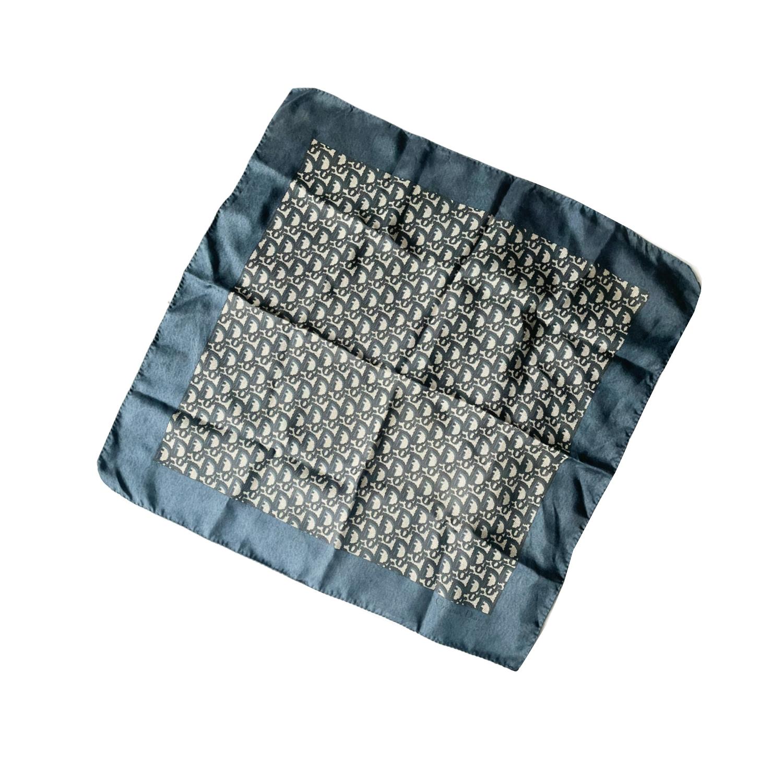 Vintage Dior Monogram Silk Scarf in Navy Blue   NITRYL
