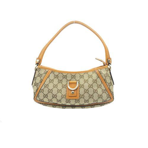 Vintage Gucci Monogram Baguette Shoulder Bag in Beige and Tan | NITRYL