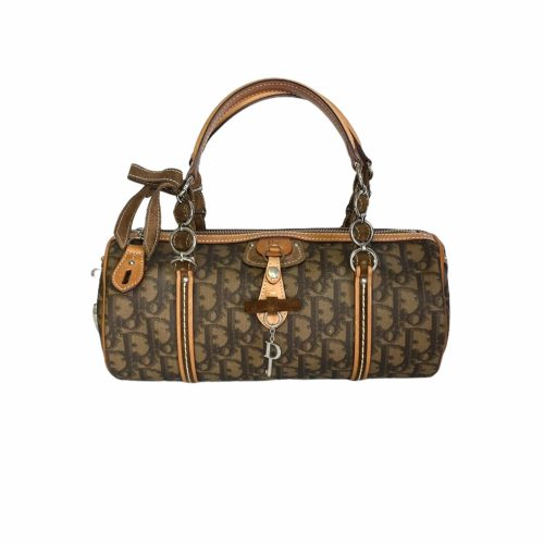 Vintage Dior Romantique Barrel Bag in Brown | NITRYL