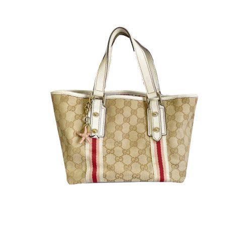 Vintage Gucci Monogram Mini Tote Bag in Beige | NITRYL