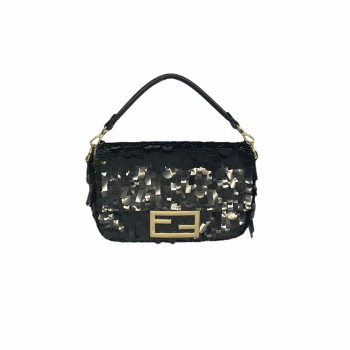 Fendi Sequin Mini Baguette Bag in Black | NITRYL