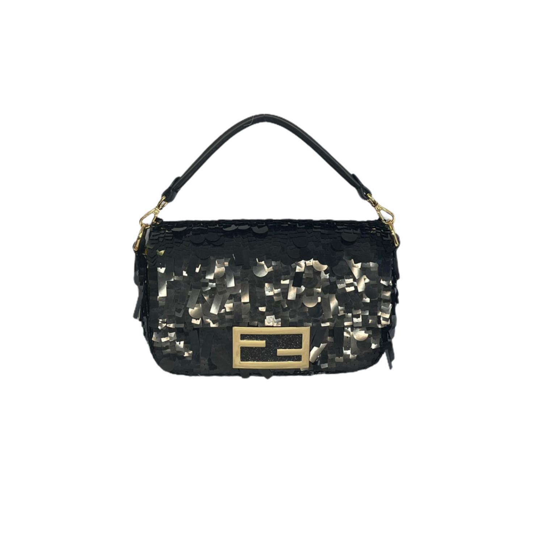 Fendi Sequin Mini Baguette Bag in Black | NITRYL