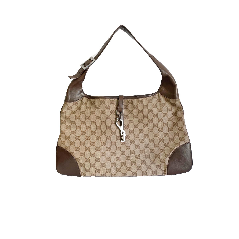 Vintage Gucci Monogram Shoulder Bag in Brown | NITRYL