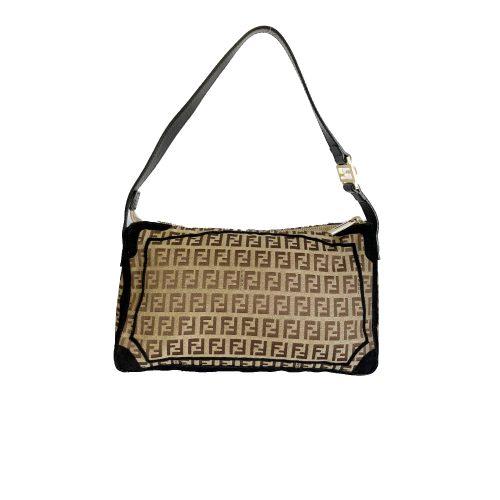 Vintage Fendi Zucchino Monogram Baguette Shoulder Bag in Beige | NITRYL