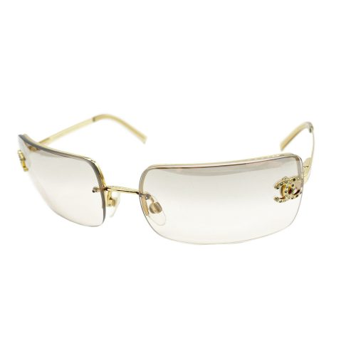 Vintage Chanel Diamante Rimless Sunglasses in Gold   NITRYL