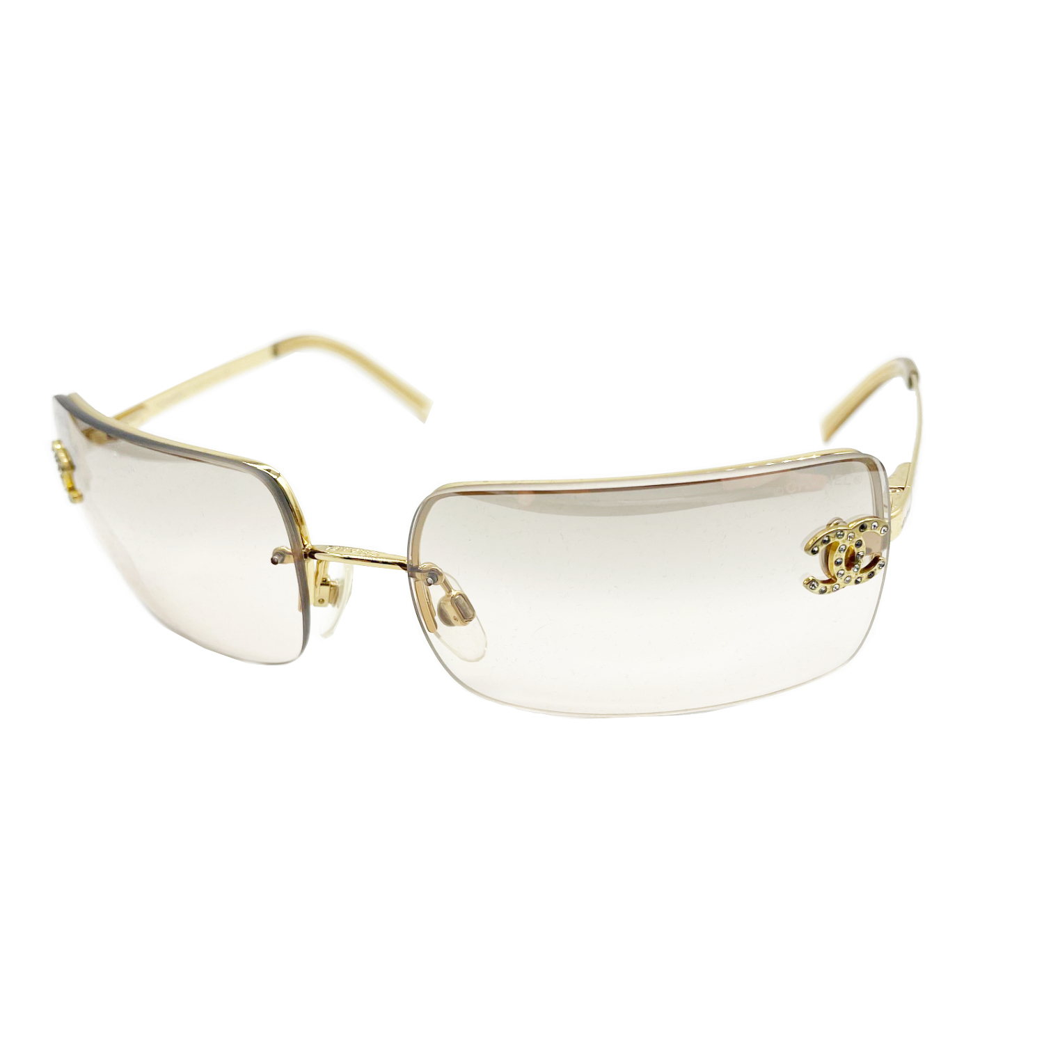 Vintage Chanel Diamante Rimless Sunglasses in Gold | NITRYL