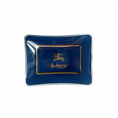 Vintage Burberry Glass Ashtray in Navy and Gold | NITRYL