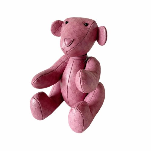Vintage Gucci Monogram Leather Teddy Bear in Pink | NITRYL