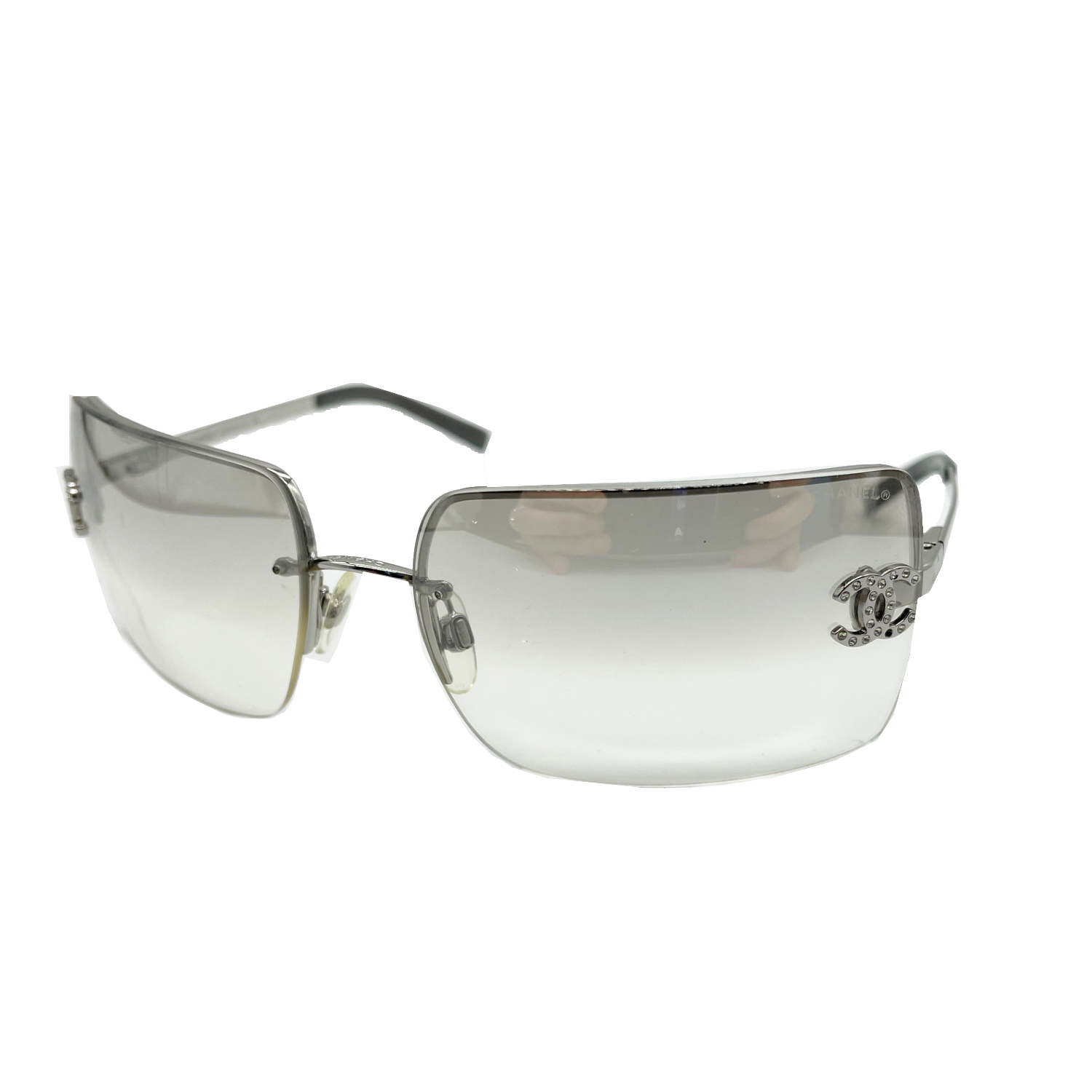 Vintage Chanel Diamante Rimless Sunglasses in Silver | NITRYL