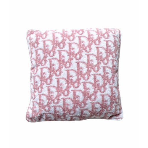 Vintage Dior Terrycloth Monogram Cushion in baby pink and white | NITRYL