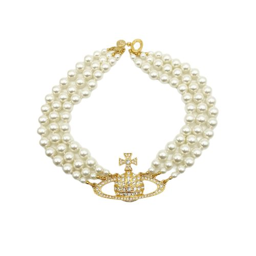 Vivienne Westwood Three Row Pearl Choker in Gold | NITRYL
