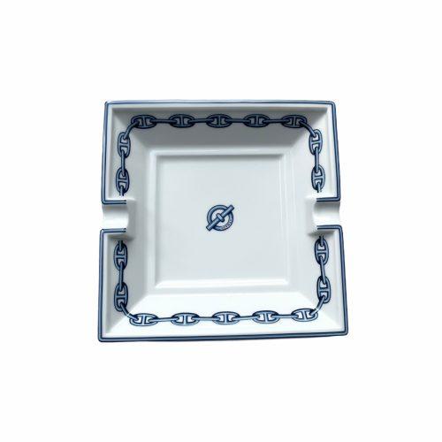 Vintage Hermes Porcelain Ashtray / Trinket Dish in white and navy | NITRYL