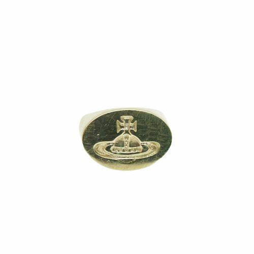 Vintage Vivienne Westwood Chunky Orb Signet Ring in Gold | NITRYL
