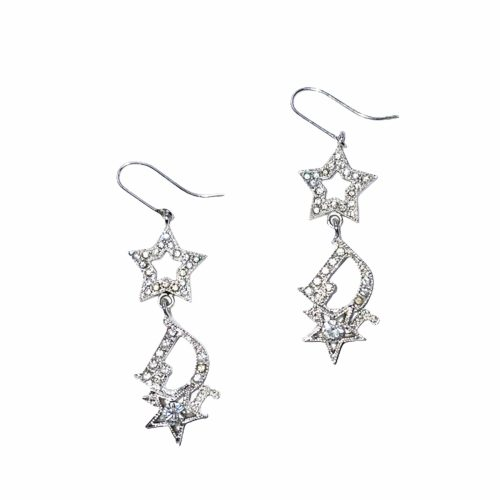 Dior Diamante Star Earrings in Silver | NITRYL