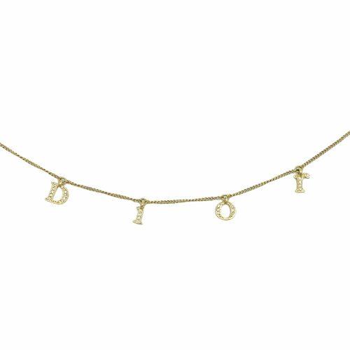 Vintage Dior Diamante Spellout Bracelet in Gold | NITRYL