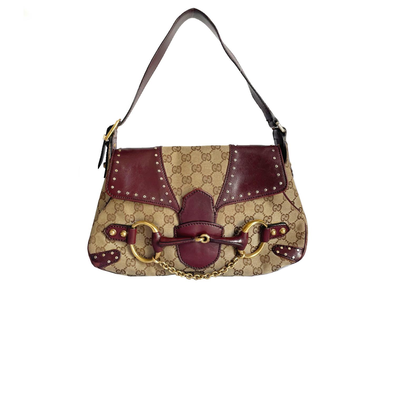Vintage Gucci Monogram Horsebit Shoulder Bag in Beige and Maroon | NITRYL