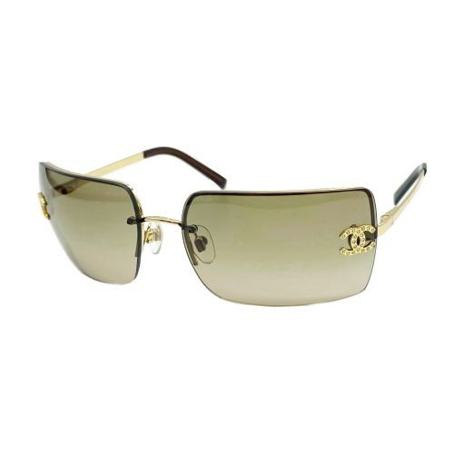 Vintage Chanel Diamante Rimless Sunglasses in Brown and Gold   NITRYL