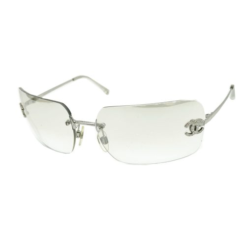 Vintage Chanel Diamante Rimless Sunglasses in Clear and Silver | NITRYL