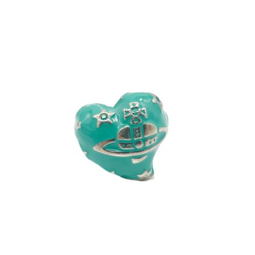 Vintage Vivienne Westwood Chunky Orb Heart Ring in Silver and Turquoise | NITRYL