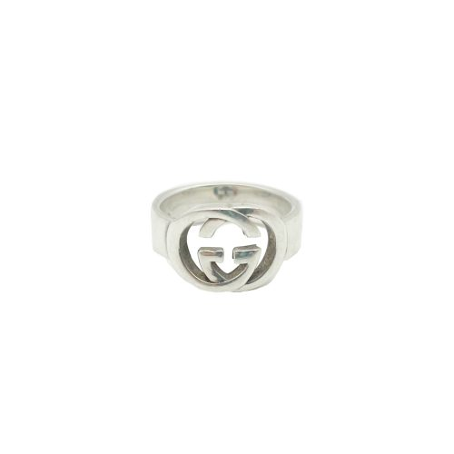 Vintage Gucci Interlocking Logo Monogram Signet Ring in Silver | NITRYL