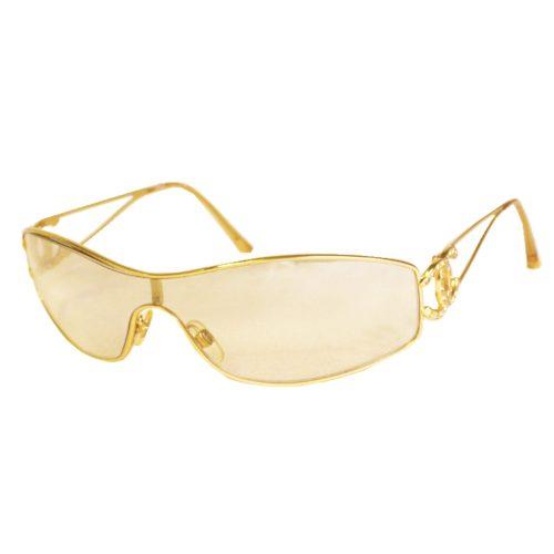 Vintage Chanel Diamante Rimless Shield Sunglasses in Gold   NITRYL