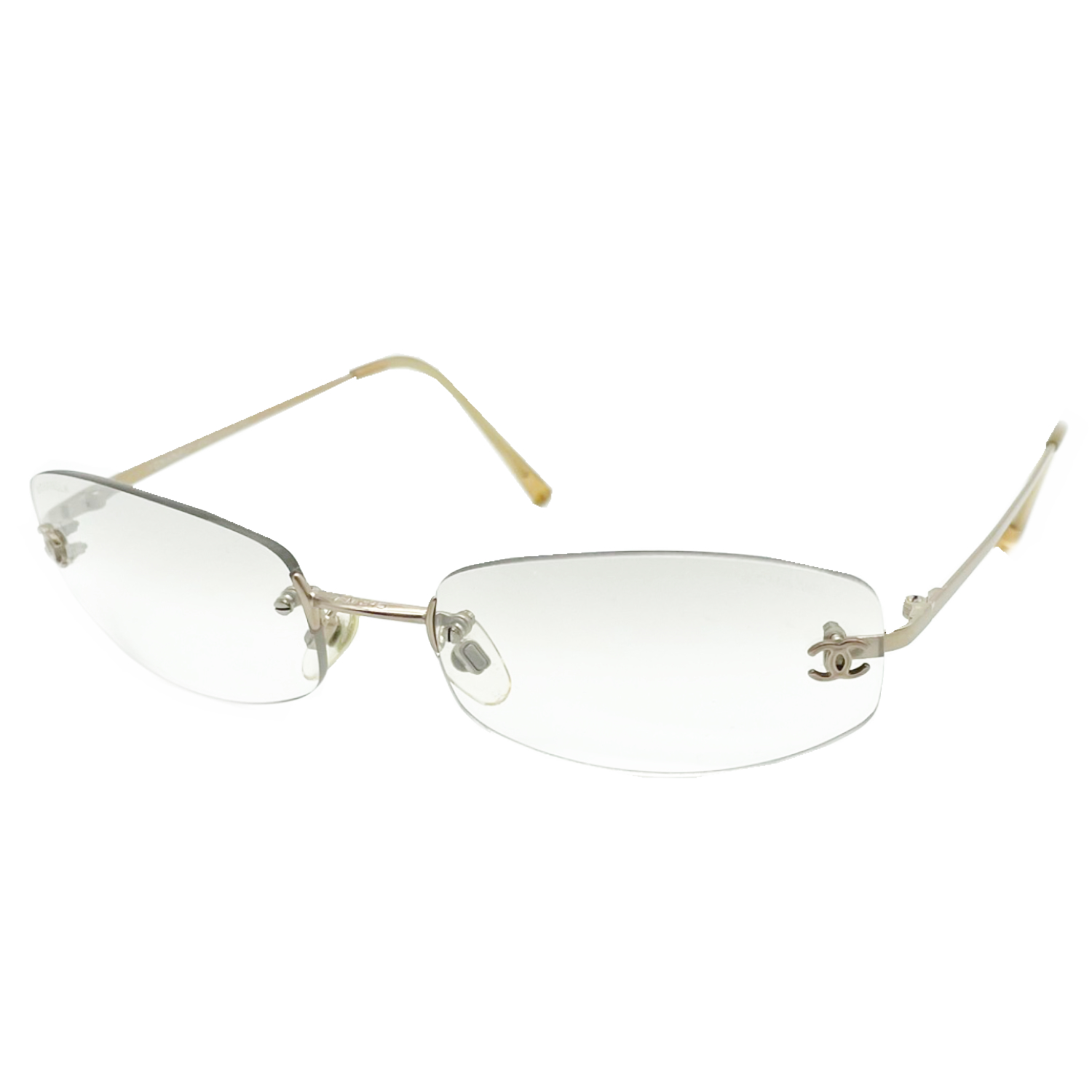 Vintage Chanel Rimless Sunglasses in Clear   NITRYL