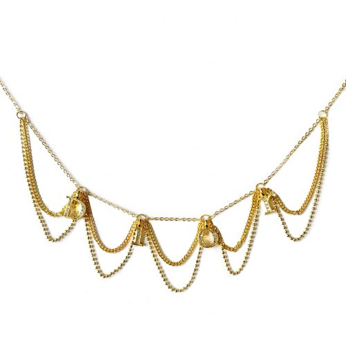 Vintage Dior Diamante Spellout Logo Looping Chain Necklace in Gold | NITRYL