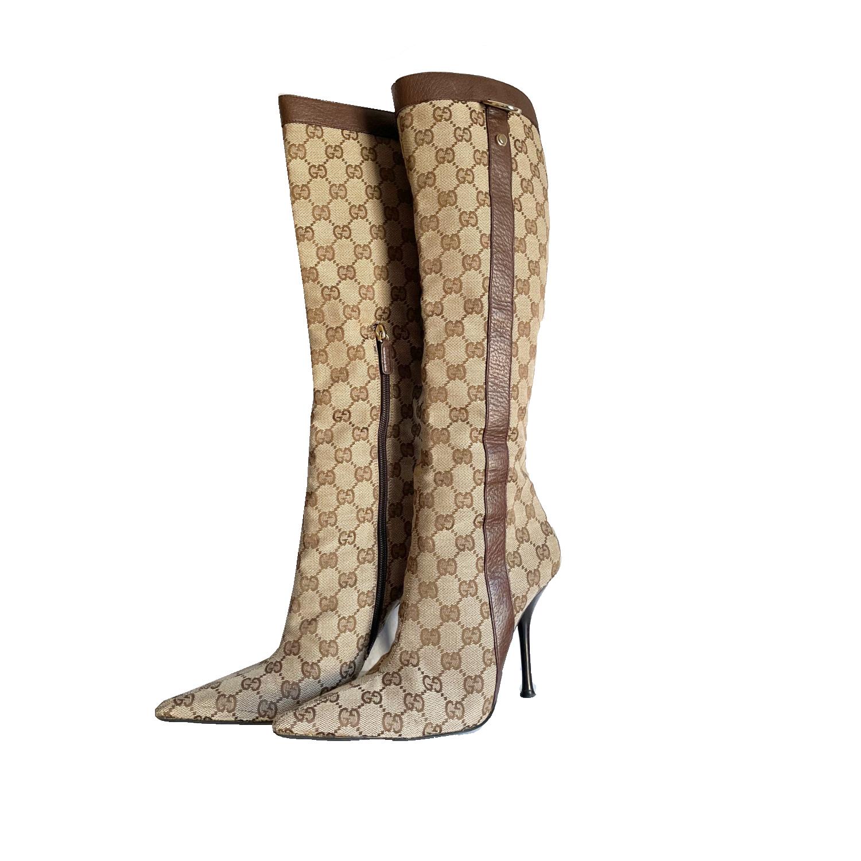 Vintage Gucci Monogram Stiletto Heeled Boots in Beige Size 5.5   NITRYL