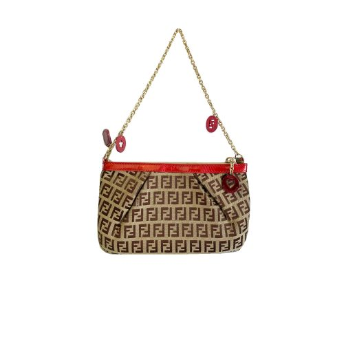 Vintage Fendi Zucchino Monogram Pochette Shoulder Mini Bag in Brown | NITRYL