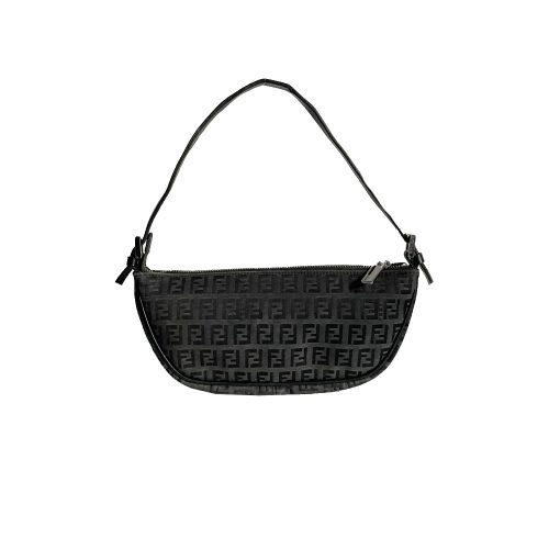 Vintage Fendi Zucchino Monogram Crescent Mini Shoulder Bag in Black | NITRYL
