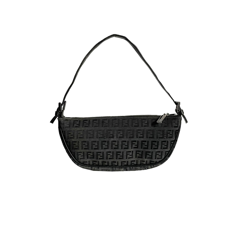 Vintage Fendi Zucchino Monogram Crescent Mini Shoulder Bag in Black   NITRYL