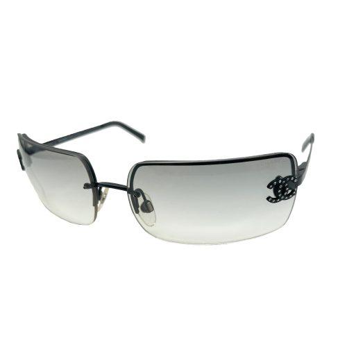 Vintage Chanel Diamante Rimless Sunglasses in Grey/Black | NITRYL