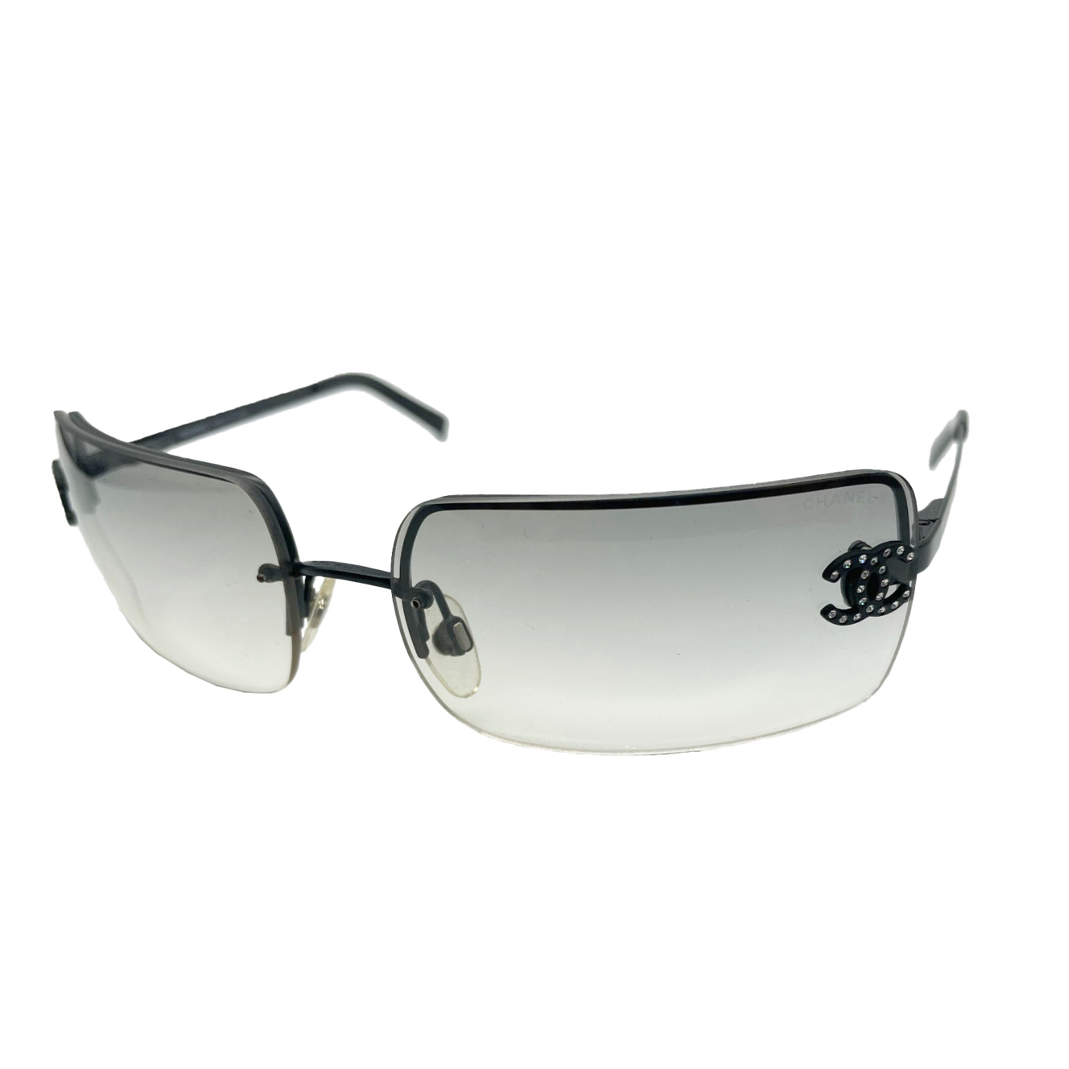 Vintage Chanel Diamante Rimless Sunglasses in Grey/Black | NITRYL
