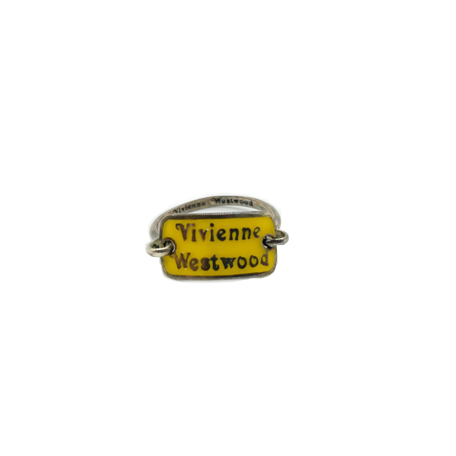 Vintage Vivienne Westwood Plaque Ring in Yellow and Silver   NITRYL