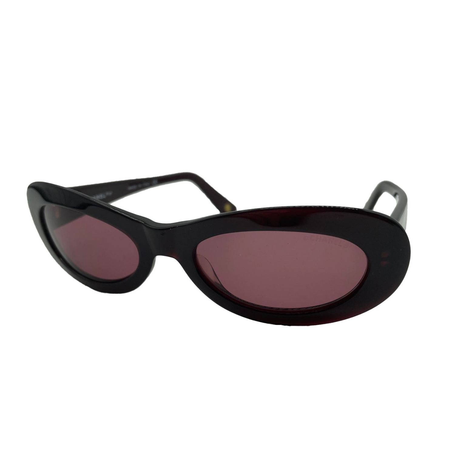 Vintage Chanel Chunky Oval Sunglasses in Maroon/Brown | NITRYL