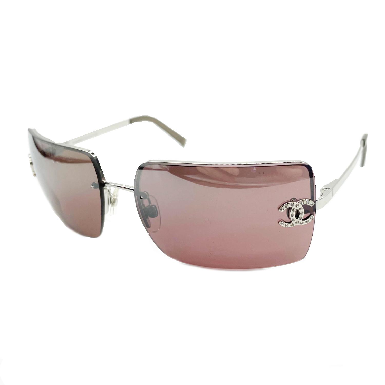 Vintage Chanel Diamante Rimless Sunglasses in Maroon   NITRYL