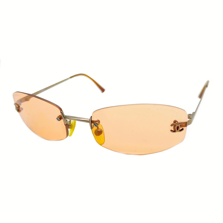 Vintage Chanel Rimless Tinted Sunglasses in Orange   NITRYL