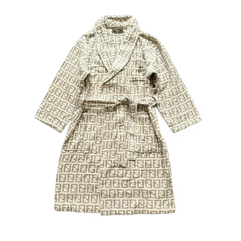 Vintage Fendi Zucca Monogram Towelling Robe/Dressing Gown in Grey/White | NITRYL