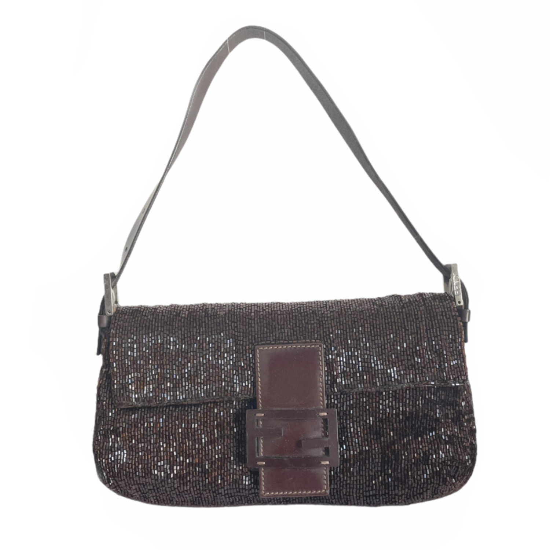 Vintage Fendi Beaded Shoulder Baguette Bag in Brown | NITRYL