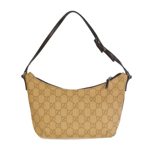 Vintage Gucci Monogram Crescent Bag in Tan | NITRYL